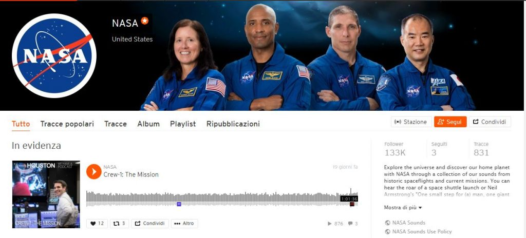 Nasa e Soundcloud